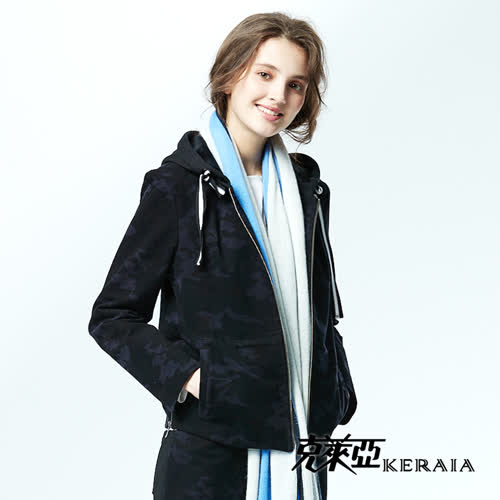 【KERAIA 克萊亞】迷彩抽繩連帽休閒短外套