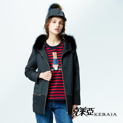 【KERAIA 克萊亞】羊毛拼接毛毛連帽鋪棉大衣