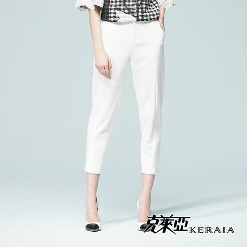 【KERAIA 克萊亞】都會彈性雪紡窄管長褲(附腰帶)