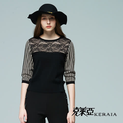 【KERAIA 克萊亞】蕾絲配條拼接針織羊毛上衣