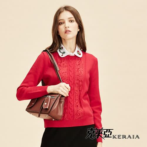 【KERAIA 克萊亞】麻花蕾絲拼接針織上衣