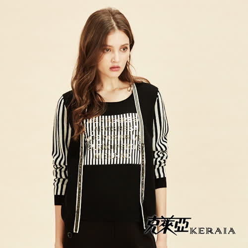 【KERAIA 克萊亞】字母條紋拼接假兩件式上衣