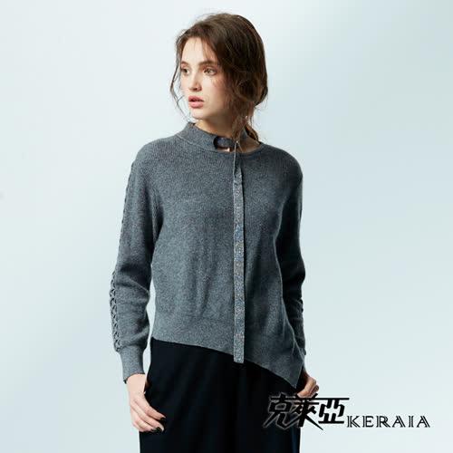 【KERAIA 克萊亞】繞頸織帶花編袖兔絨上衣