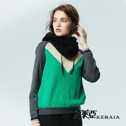 【KERAIA 克萊亞】保暖羊絨連帽圍脖-黑色