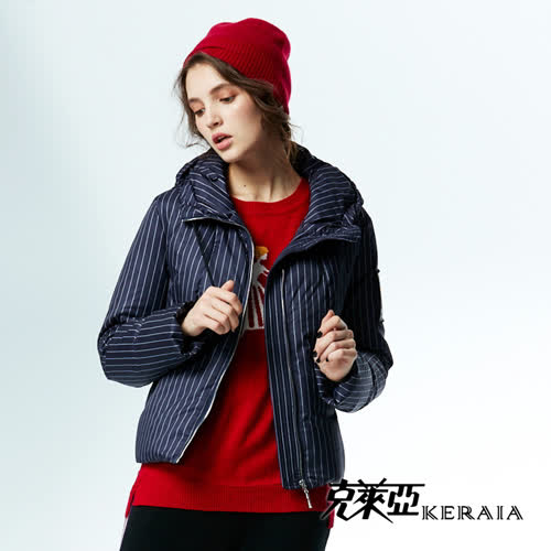 【KERAIA 克萊亞】直條紋連帽羽絨外套