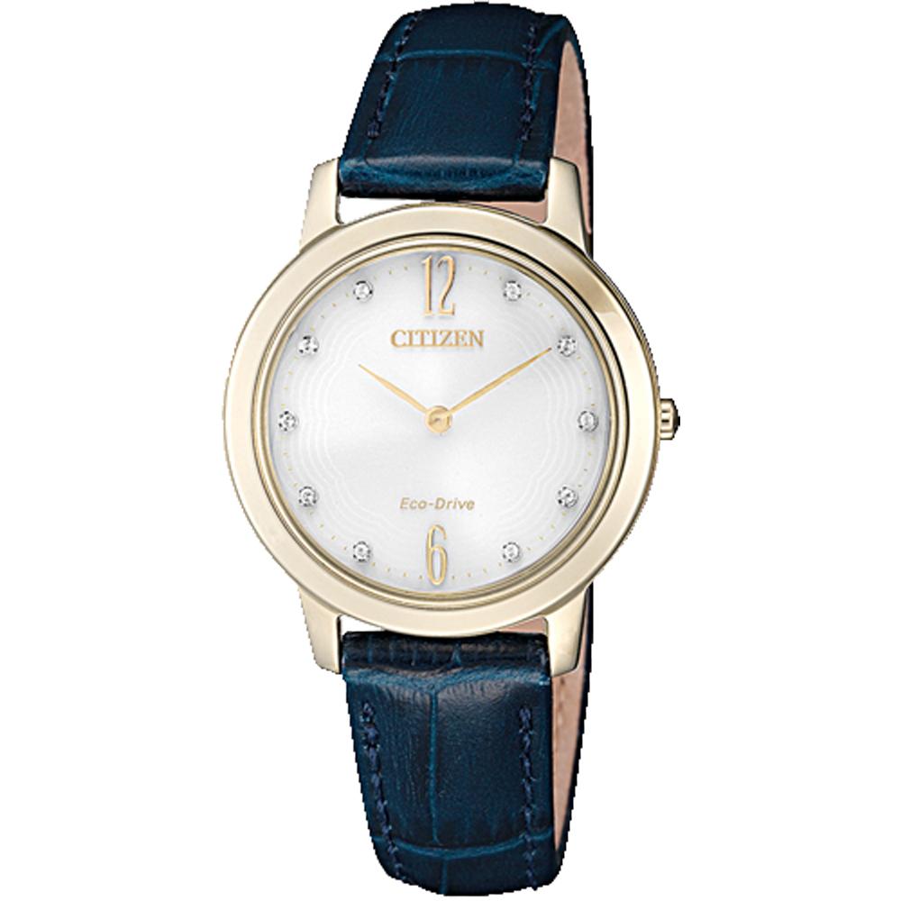 CITIZEN 星辰 光動能指針女錶 皮革錶帶 日常生活防水 藍寶石玻璃鏡面 EX1493-13A