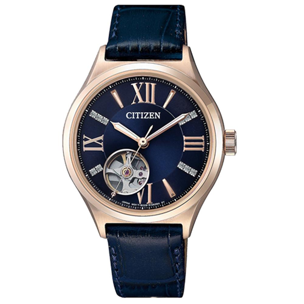 CITIZEN 星辰 機械指針女錶 皮革錶帶 10氣壓防水 藍寶石玻璃鏡面 PC1003-15L