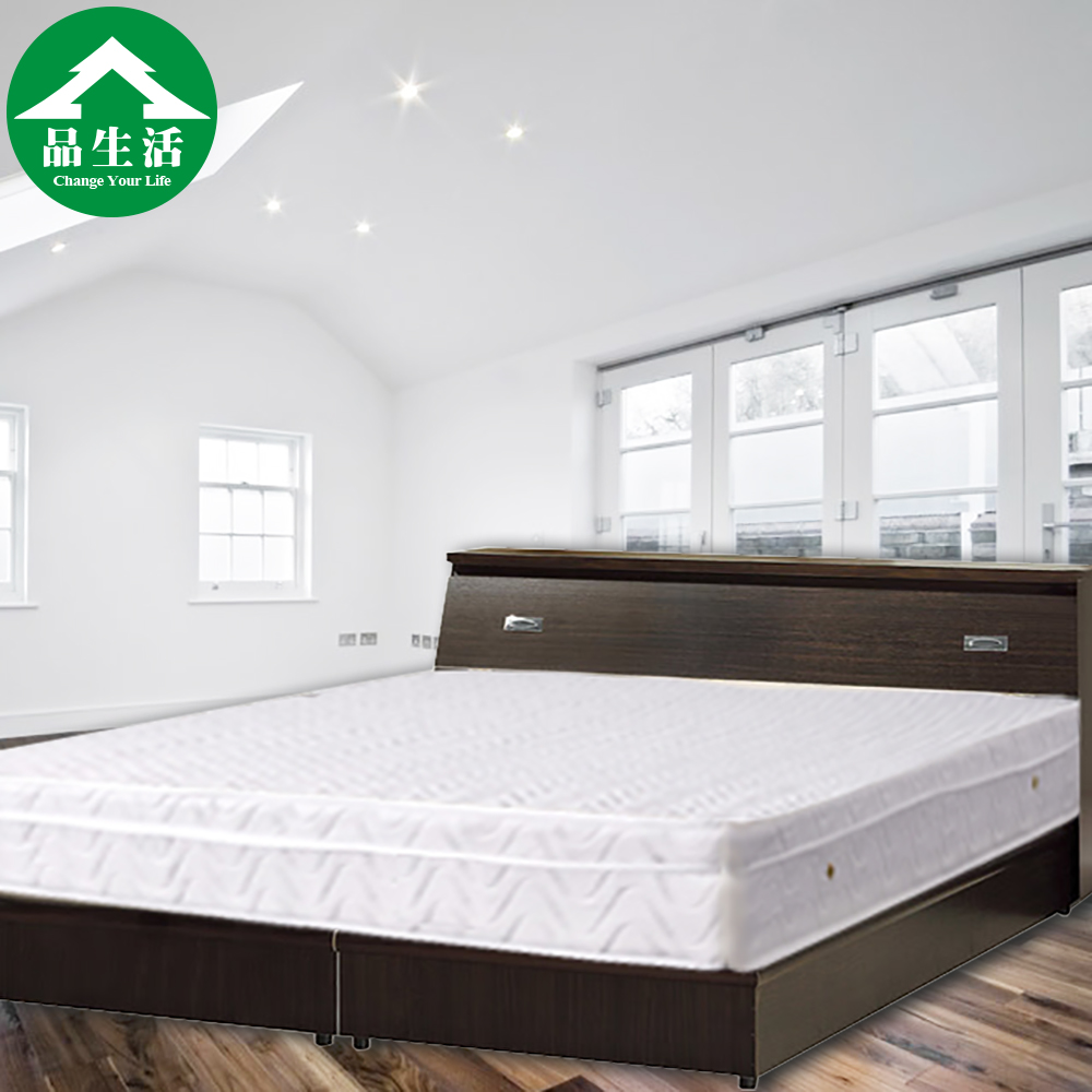 品生活-經典三件式房間組2色可選(床頭箱+床底+獨立筒)-雙人加大6尺