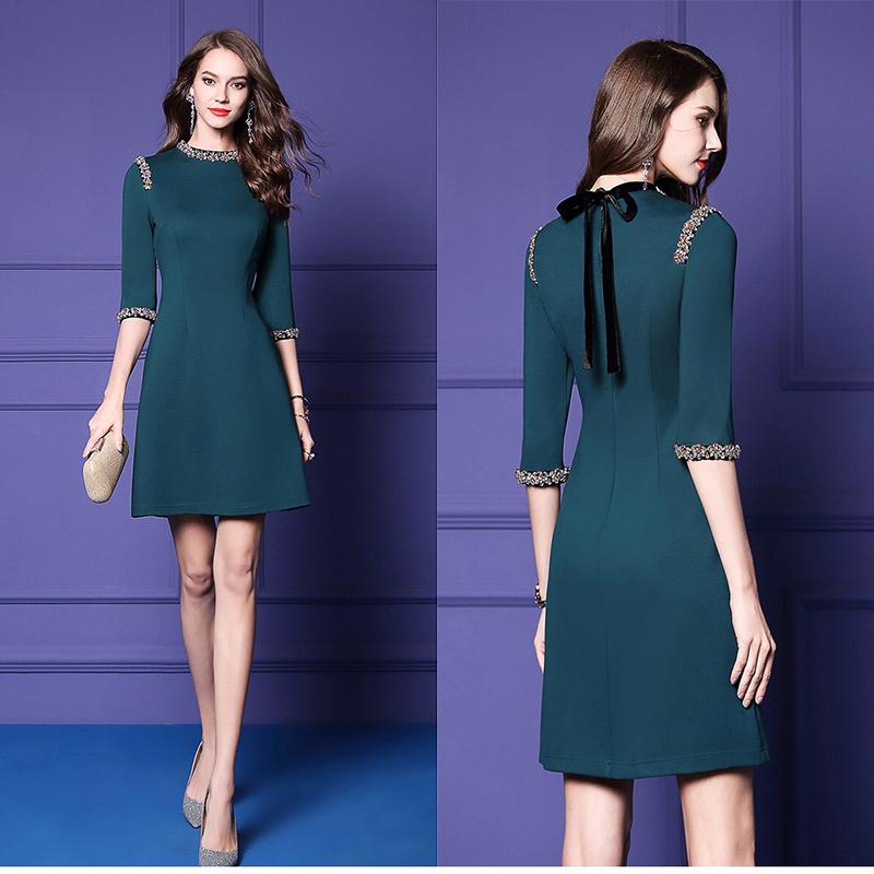 Olivia奧莉精品 歐美祖母綠鑲鑽邊洋裝 M~3XL 洋裝 連身裙 禮服 伴娘服 媽媽裝