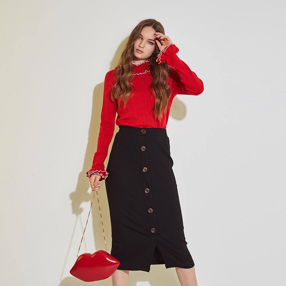ICHE 衣哲 100%羊毛暖時尚高領荷葉袖口長袖針織上衣(三色)-紅