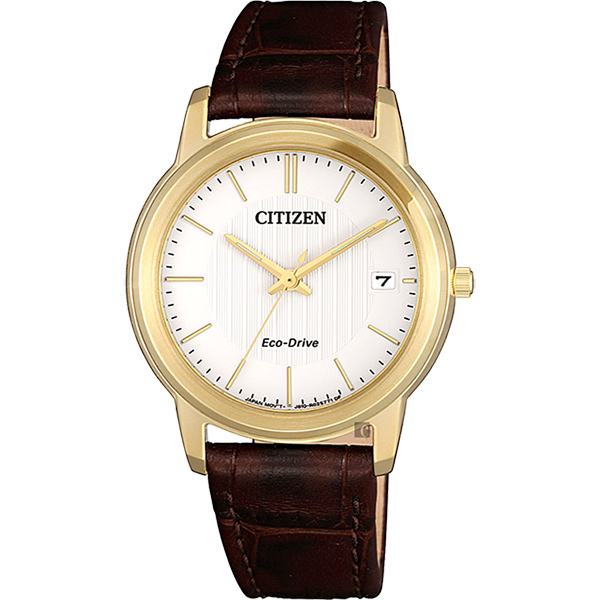 CITIZEN 星辰 Eco-Drive 光動能城市女錶-金框x咖啡/ 33mm FE6012-11A
