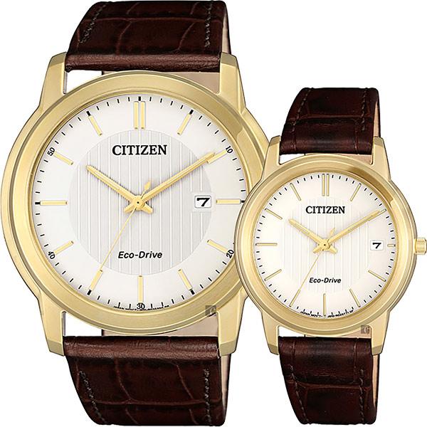 CITIZEN 星辰 Eco-Drive 光動能城市對錶-金框x咖啡/ 42+33mm AW1212-10A+FE6012-11A