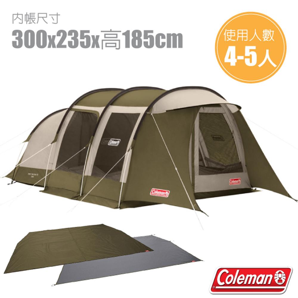【美國 Coleman】綠橄欖版 隧道式2 ROOM LDX 露營4-5人家庭帳+地墊地布套裝組.一房一廳帳/耐水壓2000mm.抗紫外線_CM-33801