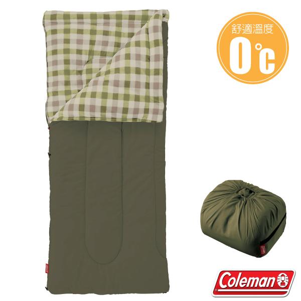 【美國 Coleman】新款 EZ 橄欖葉刷毛睡袋(84×190cm.舒適溫度0℃以上).信封型睡袋.保暖化纖睡袋/內裡刷毛材質/附收納袋_CM-33802