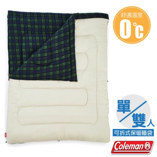 【美國 Coleman】新款 輕量保暖冒險家睡袋(150×190cm.舒適溫度0℃以上).信封型睡袋.保暖化纖睡袋/可拆開成兩人份使用/CM-33804