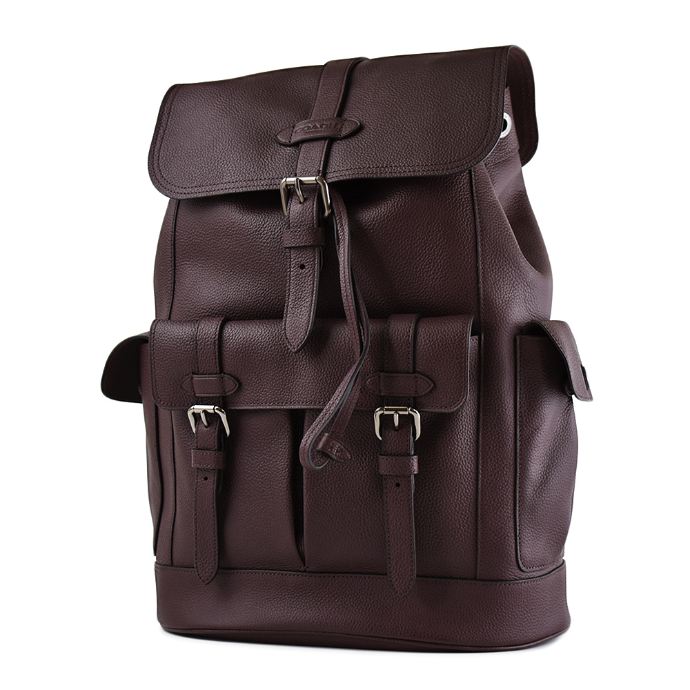 COACH 男款 荔枝紋真皮翻蓋書包釦束口後背包-咖啡色