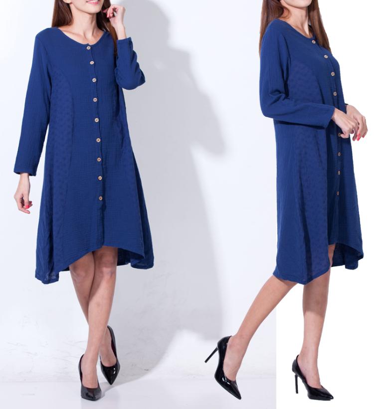 【竹露衣】圓領寬松刺繡雙層親膚棉顯瘦七分袖洋裝3入組F0912