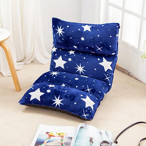 【KOTAS】法蘭絨3D立體可調式五段和室椅折疊椅休閒椅-藍 (2入)