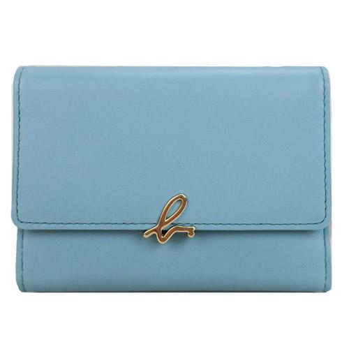 agnes b. 小bLOGO皮革票卡夾(寧靜藍)