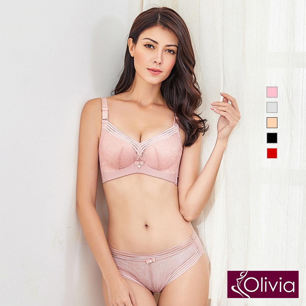 【Olivia】無鋼圈素雅蕾絲內衣褲套組-粉色
