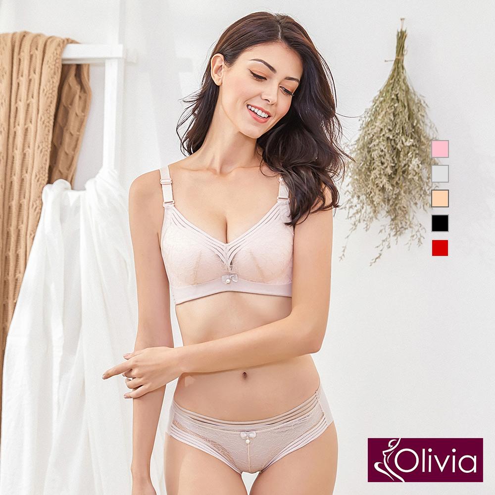 【Olivia】無鋼圈素雅蕾絲內衣褲套組-膚色