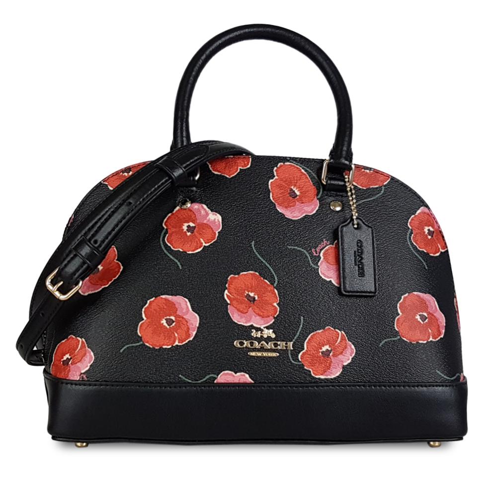 COACH 明星限量紅花設計防刮手提/斜背貝殼包-黑