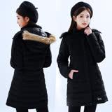 【遊遍天下】女款長版顯瘦Globetex防水90%羽絨禦寒機能外套GJ22013黑