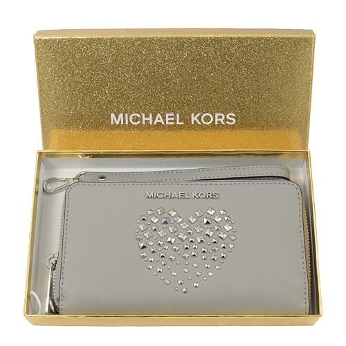 MICHAEL KORS GIFTABLES 愛心鉚釘手提拉鍊中長夾.灰