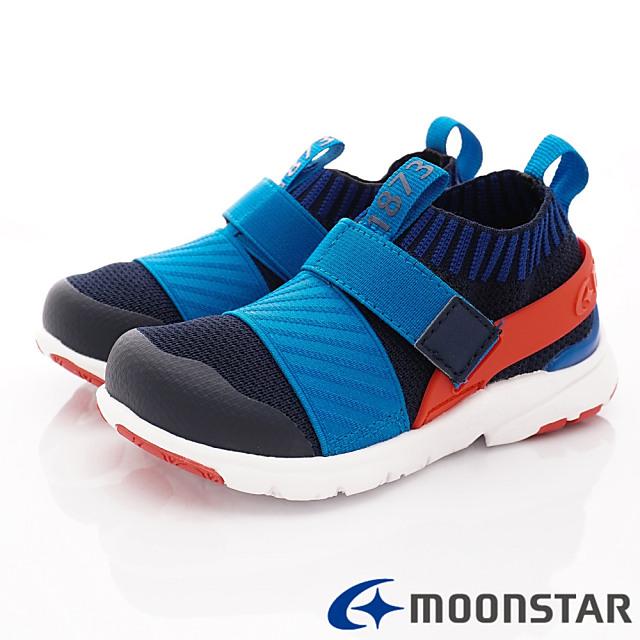 日本Carrot機能童鞋-襪套式休閒機能款-C22285藍-16-19cm