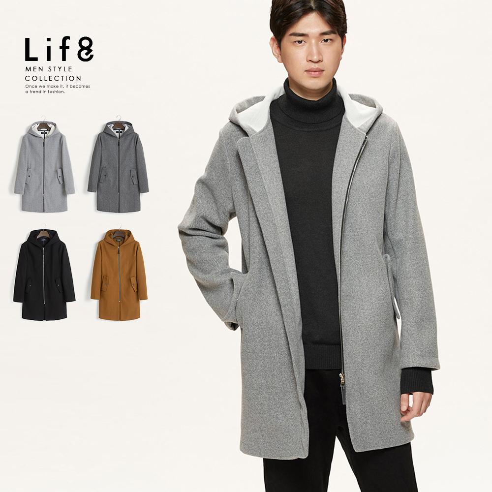 【Life8】Formal 混織毛呢 長版連帽大衣-11181