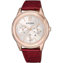 CITIZEN 星辰 xC 光動能亞洲限定柔美氣質三眼手錶-玫瑰金x酒紅/36mm(FD2062-03A)