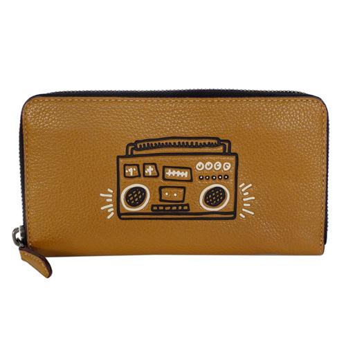 COACH Keith Haring復古收音機摩卡全皮拉鍊長夾