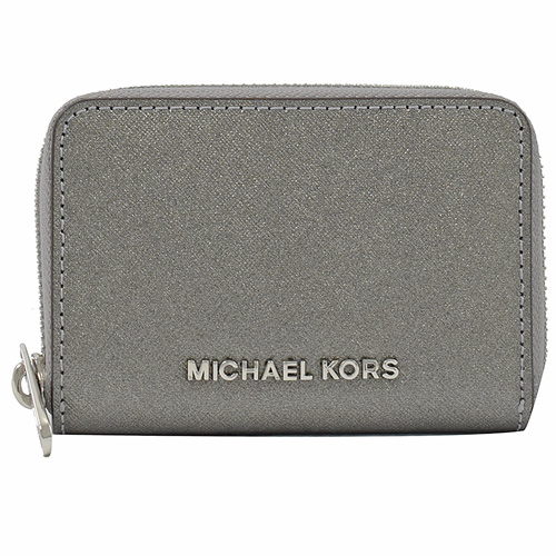 MICHAEL KORS Jet Set 金字LOGO 拉鍊零錢包.銀