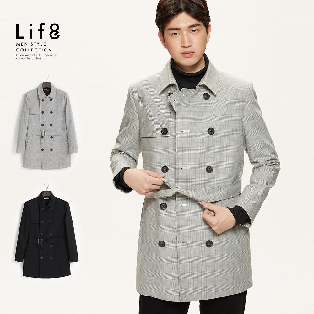 【Life8】Formal 厚挺斜紋 經典長版大衣-11182