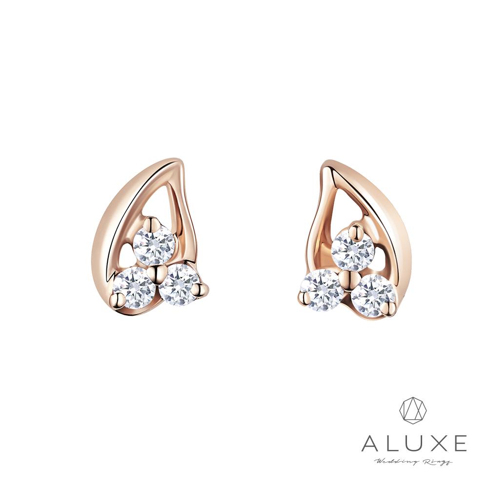 A-LUXE 亞立詩 18K玫瑰金0.08克拉鑽石耳環