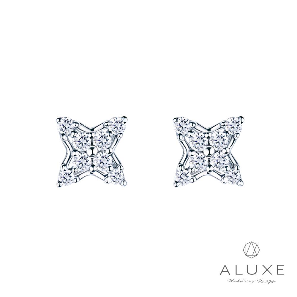 ALUXE 亞立詩 18K金 造型鑽石耳環