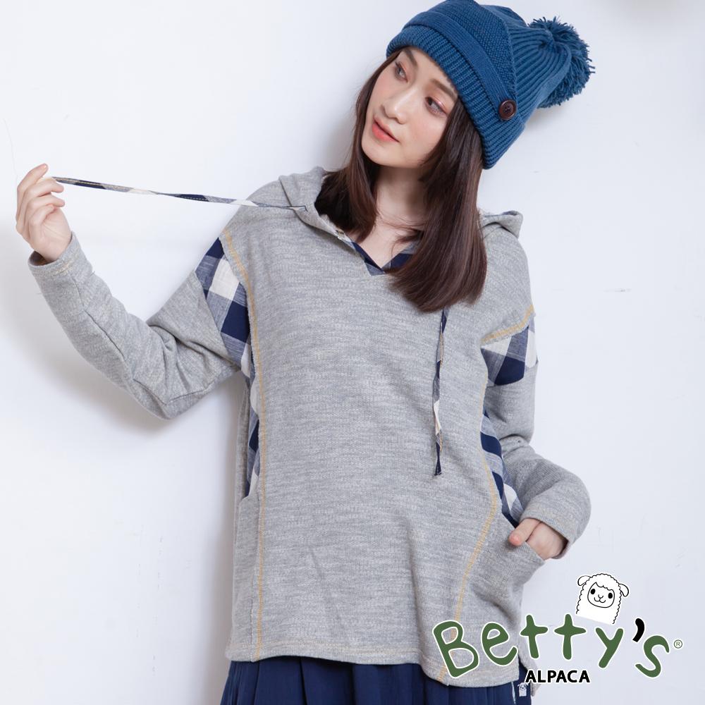 betty's貝蒂思 連帽抽繩側接格紋針織衫(深灰)