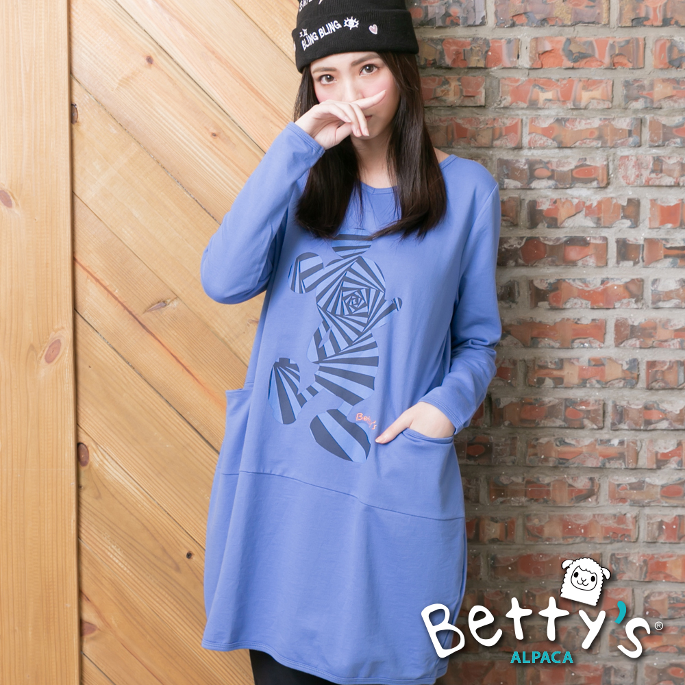 betty's貝蒂思 卡通圖案寬鬆長版T-shirt(藍色)