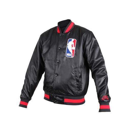 (男) NIKE NBA防風棒球外套-風衣外套 籃球 保暖外套 鋪棉 黑紅