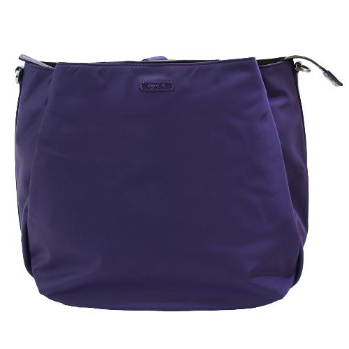 agnes b.長橢圓斜背/後背兩用包(紫)