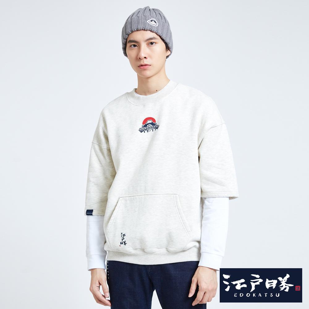 EDWIN 江戶勝 江戶時代 五分袖口袋寬版T恤-中性-淺卡其