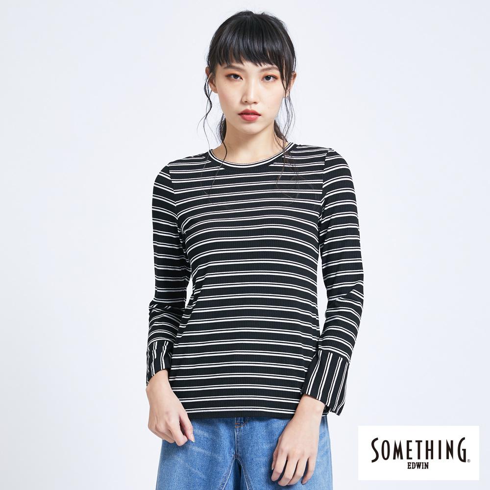 SOMETHING 條紋喇叭袖圓領長袖T恤-女-黑色