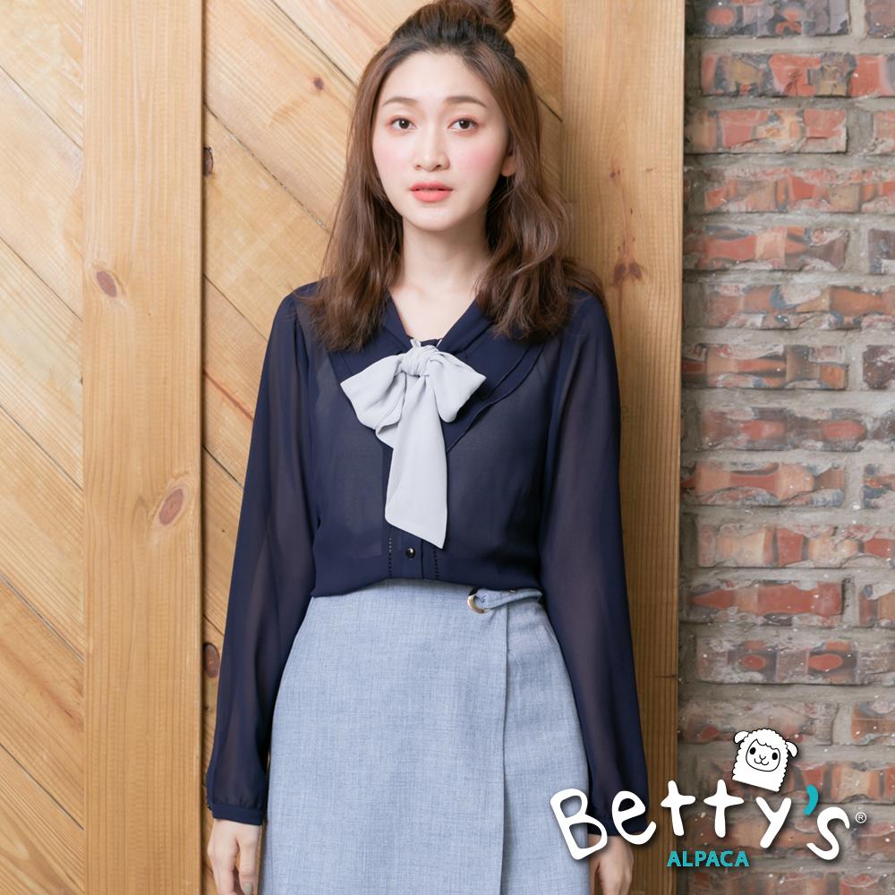 betty's貝蒂思 蝴蝶結雪紡微透膚開襟上衣(藍色)