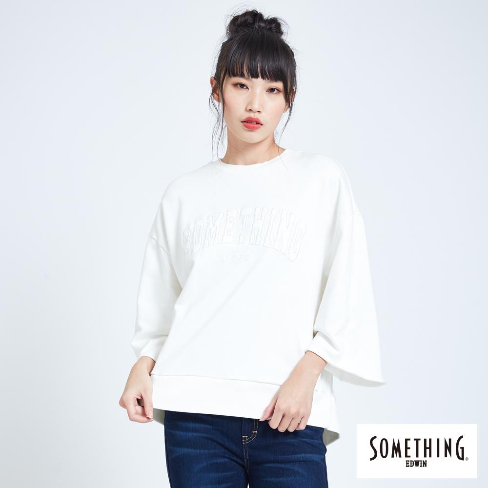 SOMETHING 綁結LOGO七分袖寬T恤-女-白色