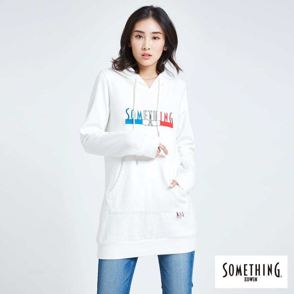 SOMETHING 長版LOGO連帽長袖T恤-女-白色