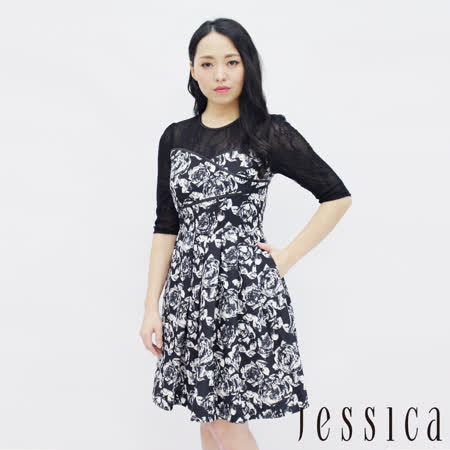 JESSICA 蕾絲印花拼接修身洋裝(黑)