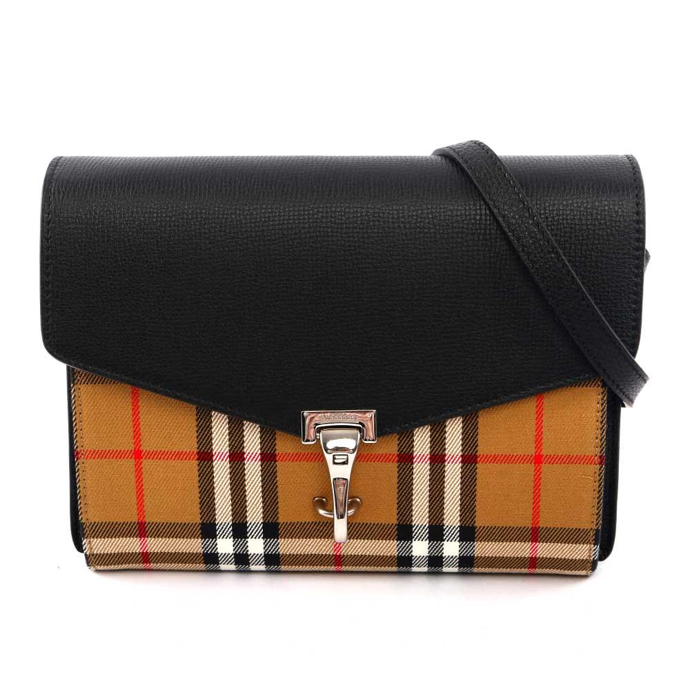 【BURBERRY】小型Vintage格紋皮革斜背包(黑色) 4080075