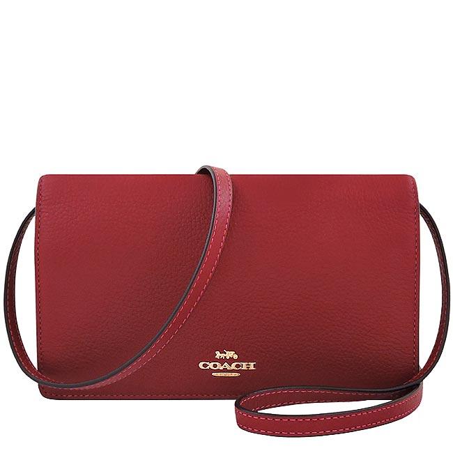 COACH 荔枝紋皮革斜背包-櫻桃紅色