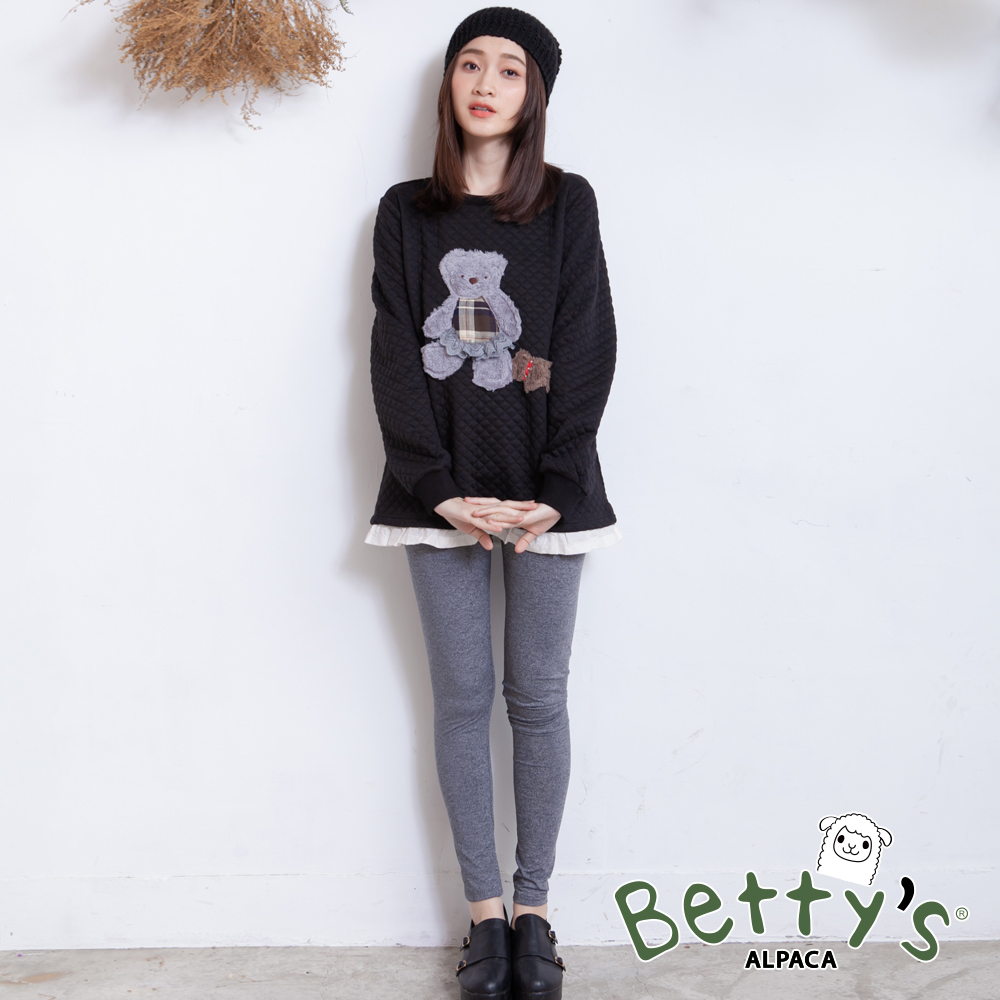 betty's貝蒂思 顯瘦鬆緊彈性雪花內搭褲(灰色)