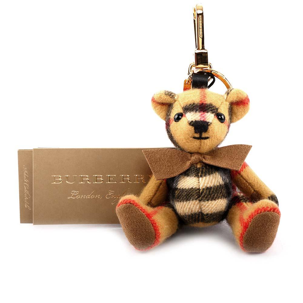 【BURBERRY】蝴蝶結造型cashmere Thomas泰迪熊吊飾/key圈 8003330 A2442